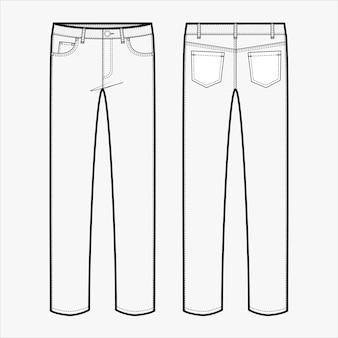 Spodnie jeansy moda płaski szablon szkicu