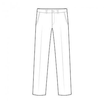 Spodnie mody płaski rysunek techniczny szablon