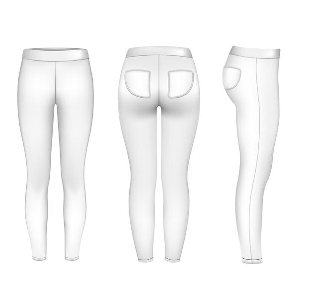 Spodnie sportowe damskie makieta ilustracji wektorowych legginsy gimnastyczne spodnie dresowe fitness joga bieganie sportowe...