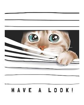 Spójrz ze ślicznym kotem, zerkającym przez ilustrację żaluzji