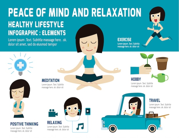 Spokój ducha, aby zrelaksować się w zdrowym stylu życia. medytacja, łagodzi zdrowie, infografika element, pojęcie opieki zdrowotnej