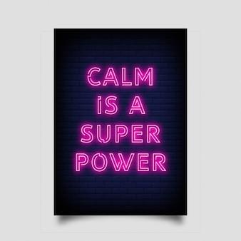 Spokój to super moc plakatu w stylu neonowym