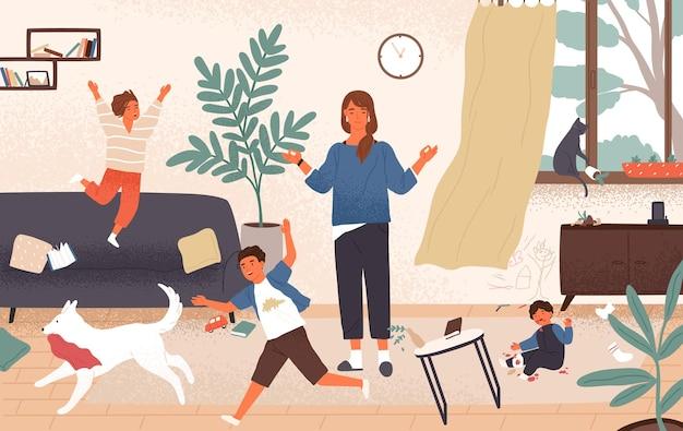 Spokojna mama i niegrzeczne psotne dzieci biegają wokół niej. matka otoczona dziećmi starającymi się zachować spokój, opanowanie i spokój
