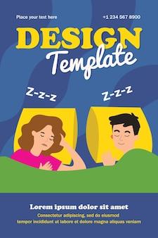 Spokojna para śpi w łóżku szablon