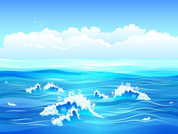 Spokojna powierzchnia morza lub oceanu z małymi falami i płaską ilustracją błękitnego nieba