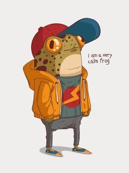 Spokojna urocza nastoletnia żaba ubrana w marynarkę mówi, że jest bardzo spokojną żabą