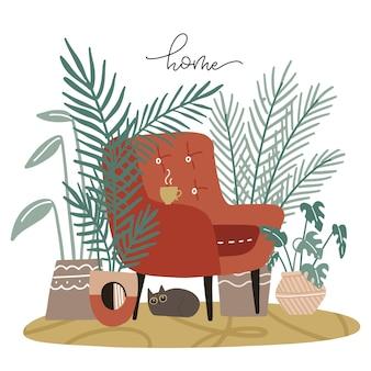 Spokojny i przytulny dom w stylu skandynawskim, wnętrze pokoju z krzesłem z wieloma roślinami i śpiącym kotem ogrodowym ręcznie rysowane na płasko