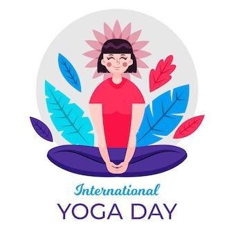 Spokojny kobieta międzynarodowy dzień jogi