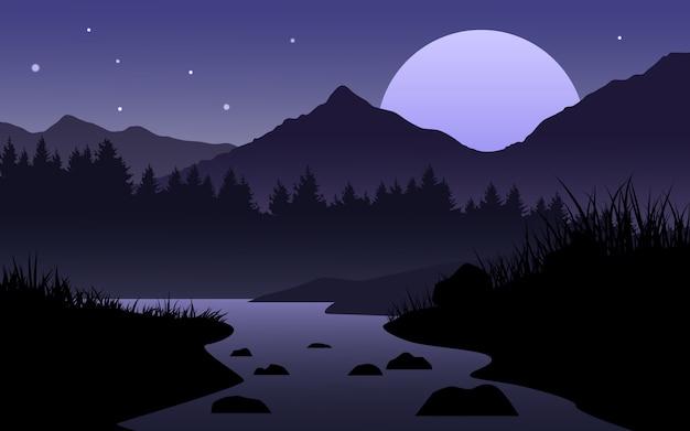 Spokojny noc krajobraz z rzeką i lasem
