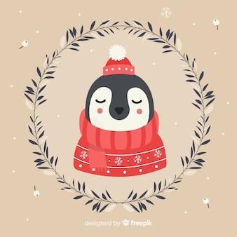 Spokojny pingwin bożego narodzenia tło
