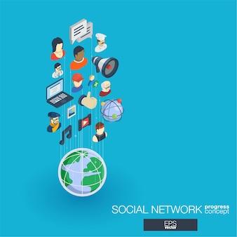 Społeczeństwo zintegrowane ikony sieci web. koncepcja postępu izometrycznego sieci cyfrowej. połączony system wzrostu linii graficznych. streszczenie tło dla mediów społecznościowych, komunikacja między ludźmi. infograf
