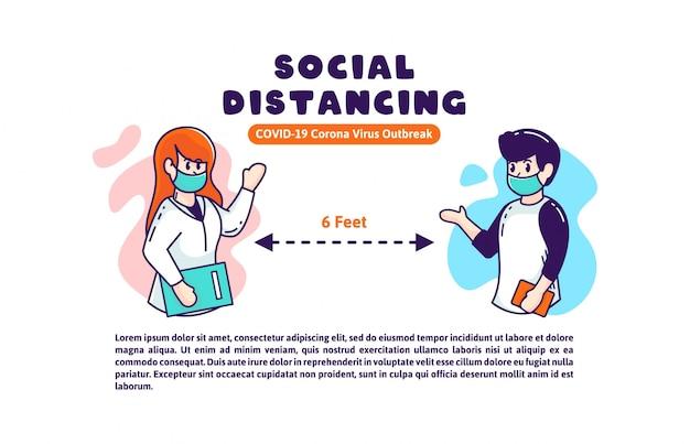 Społeczna dystansująca covid-19 ilustracja dla broszurka sztandaru plakatowego szpitala i socjalny