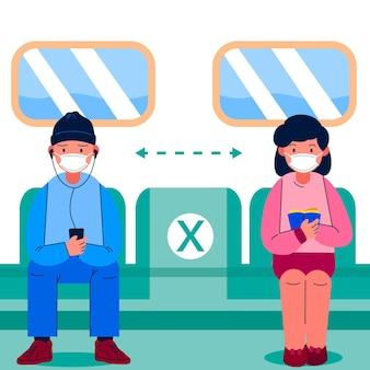Społeczna odległość między pasażerami