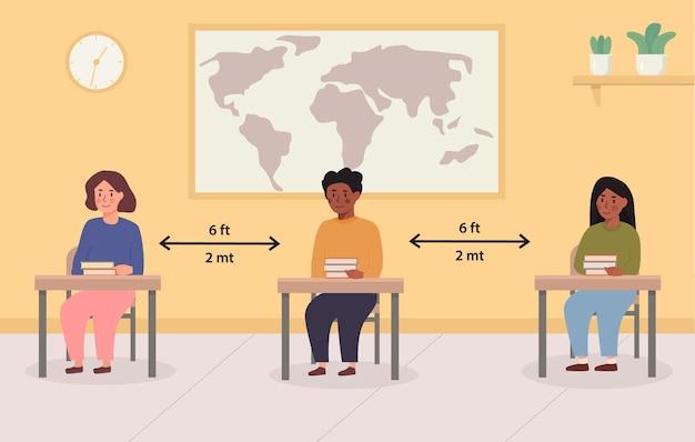 Społeczna odległość w szkole ilustracja koncepcja. dzieci rasy mieszanej siedzące w klasie. dzieci zachowujące bezpieczną odległość wewnątrz sali wykładowej. powrót do szkoły. ilustracja wektorowa.