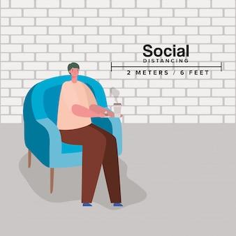 Społeczne dystansowanie człowieka na krześle z kubkiem kawy