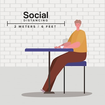 Społeczne dystansowanie człowieka na stole z kubkiem kawy