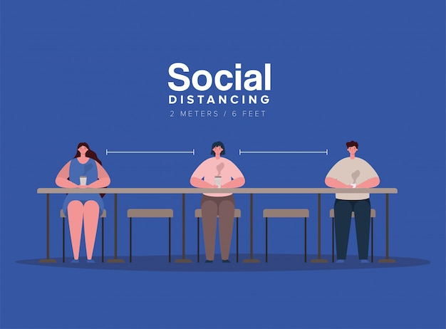 Społeczne dystansowanie kreskówek chłopców i dziewcząt przy stole