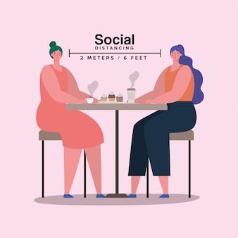 Społeczne dystansowanie kreskówek dziewcząt przy stole