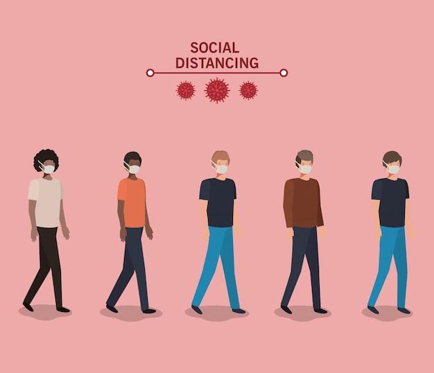 Społeczne dystansowanie między chłopcami z maskami projektu ilustracji motywu wirusa covid 19