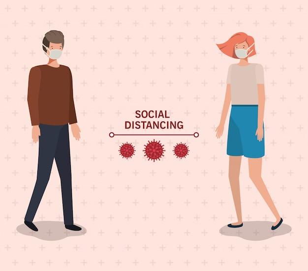 Społeczne dystansowanie między chłopcem i dziewczynką z maską zaprojektowaną na ilustracji motywu wirusa covid 19