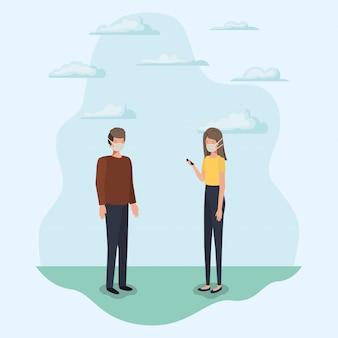 Społeczne dystansowanie między chłopcem i dziewczynką z maskami i chmurami projektu motywu wirusa covid 19