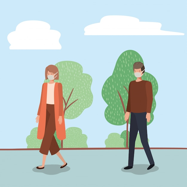 Społeczne dystansowanie między chłopcem i dziewczynką z maskami w parku projektowania ilustracji motywu wirusa covid 19