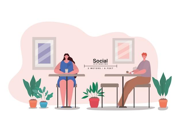 Społeczne dystansowanie między kreskówką chłopca i dziewczynki przy stole