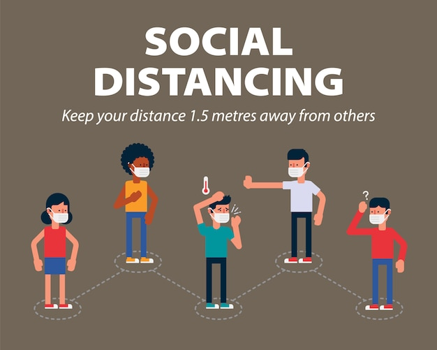 Społeczne dystansowanie, trzymaj publicznie odległość 1 metra, aby chronić się przed covid-19, jednym ze sposobów spowolnienia rozprzestrzeniania się koronawirusa