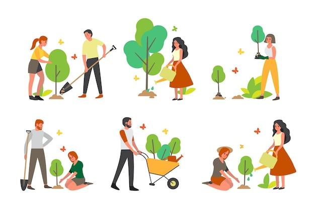 Społeczność charytatywna zasadzi zestaw drzewek. idea opieki i koncepcji ludzkości, przyrody i ekologii. wolontariusz pomaga ludziom w pomyśle.