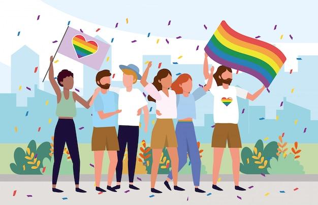 Społeczność lgbt wraz z flagami tęczy