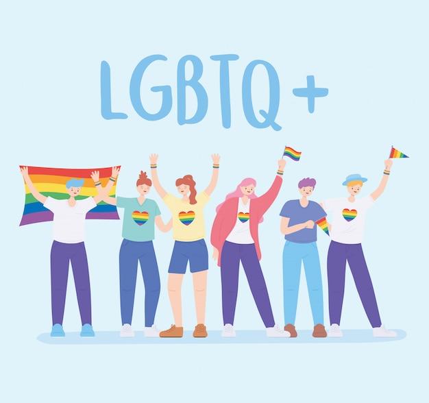 Społeczność lgbtq, ludzie przytulający się, trzymając tęczową flagę, protest przeciwko dyskryminacji seksualnej podczas parady gejów