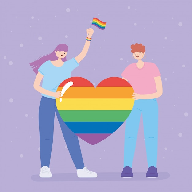 Społeczność lgbtq, ludzie trzymający wielkie tęczowe serce, ilustracja protestu przeciwko dyskryminacji seksualnej podczas parady gejów