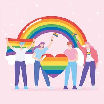 Społeczność lgbtq, młode kobiety trzymające tęczowe serce i flagi, ilustracja protestu przeciwko dyskryminacji seksualnej podczas parady gejów