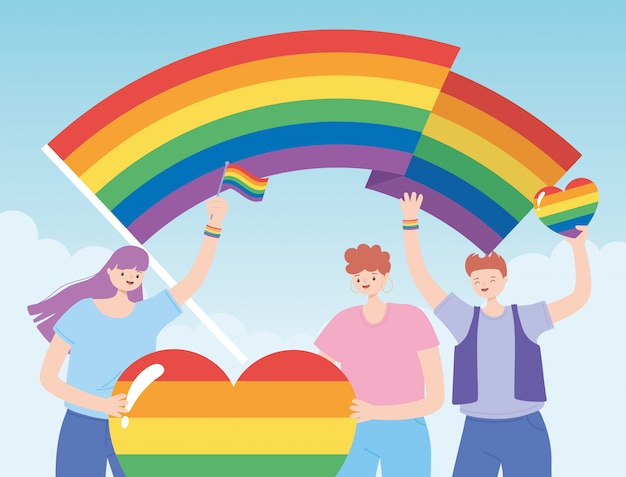 Społeczność lgbtq, postacie trzymające tęczowe serce i flagi, protest przeciwko dyskryminacji seksualnej podczas parady gejów