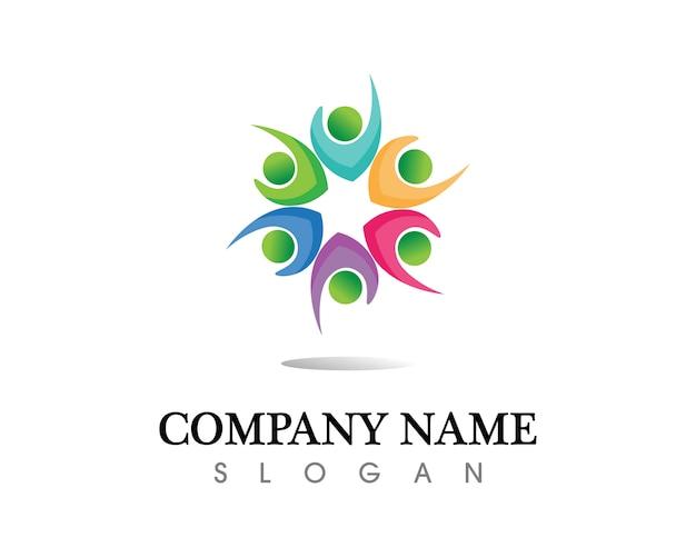 Społeczność ludzie dbają o szablon logo i symbole