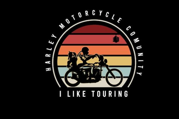Społeczność motocykli harley lubię trasy w kolorze pomarańczowym żółtym i niebieskim