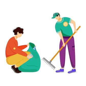 Społeczność robotnik sprzątający śmieci płaska ilustracja. młodzi wolontariusze, działacze na rzecz środowiska na białym tle postaci z kreskówek na białym tle. ochrona ekologii, ochrona przyrody