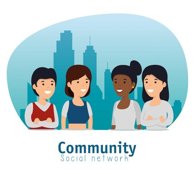 Społeczność społeczna przyjaciół ze współpracą przesłania