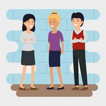 Społeczność społeczna znajomych z komunikatem o współpracy