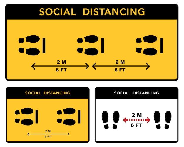 Społeczny baner dystansujący. zachowaj odległość 2 metrów. ochrona przed epidemią koronawirusów.