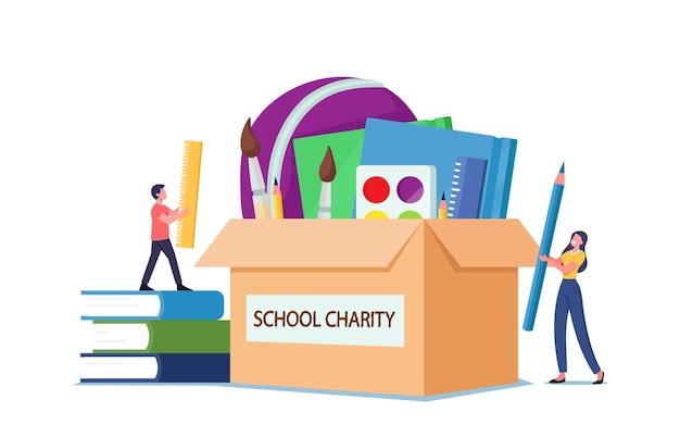Sponsoruje pomoc humanitarną i solidarność. małe postacie męskie i żeńskie umieszczają książki i artykuły papiernicze w ogromnym pudełku na datki. opieka społeczna i pomoc dla ubogich dzieci. ilustracja wektorowa kreskówka ludzie