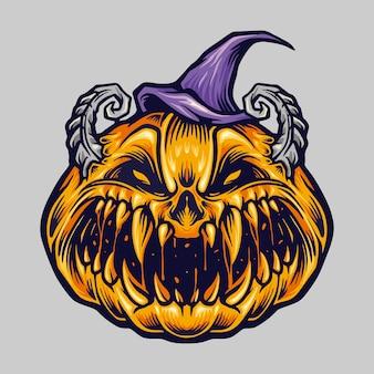 Spooky creepy halloween pumpkin z kapeluszem