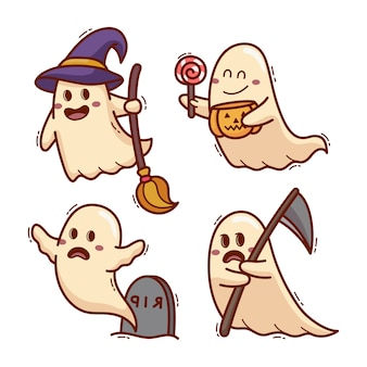 Spooky ghost halloween cartoon