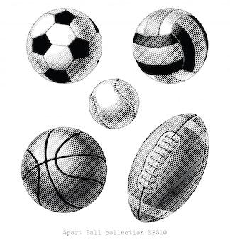 Sport ball kolekcja ręcznie rysować vinatge styl czarno-biały clipart na białym tle
