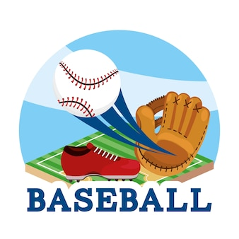 Sport baseballowy z wyposażeniem do piłki i rękawic
