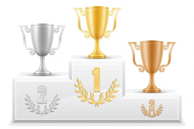 Sport cokole zwycięzca podium ilustracji wektorowych