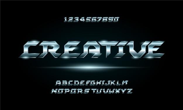 Sport cyfrowy nowoczesny futurystyczny alfabet czcionki. typografia czcionki w stylu miejskim dla technologii, cyfrowych, projektowania logo filmu