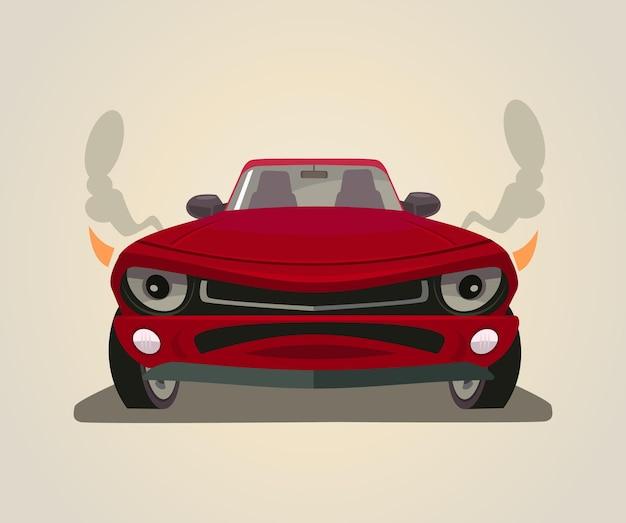 Sport czerwony samochód ilustracja kreskówka płaski widok z przodu