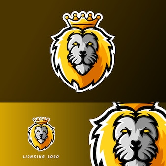 Sport dla zwierząt z królem lwów lub logo maskotki esportowej