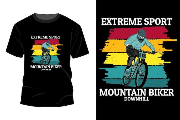 Sport ekstremalny koszulka rowerzysta górski makieta design vintage retro